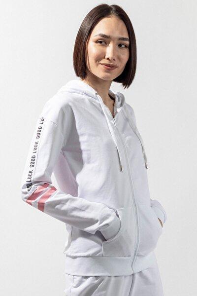 Teddy Bear Kapşonlu Kadın Sweatshirt - Beyaz