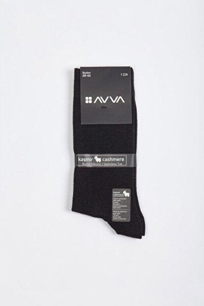 Erkek Siyah Düz Kaşmir Soket Çorap A02y8519