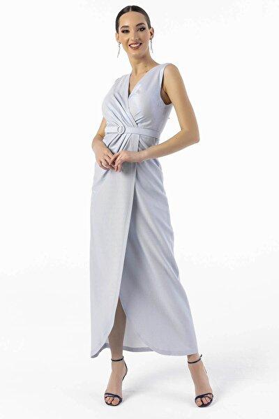 Anvelop Simli Kemerli Uzun Abiye Elbise Mavi