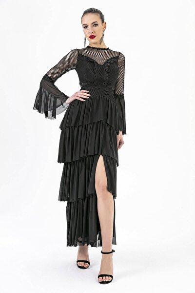 Kat Kat Uzun Abiye Elbise Siyah