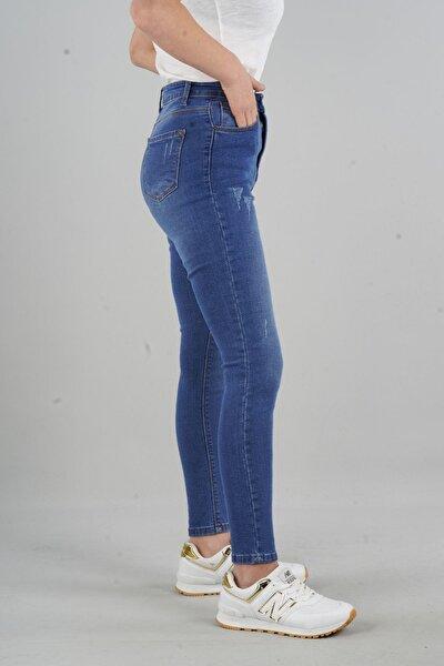 Herdem 4345 Kadın Mavi Tırnaklı Taşlamalı Yüksek Bel Skinny Jeans