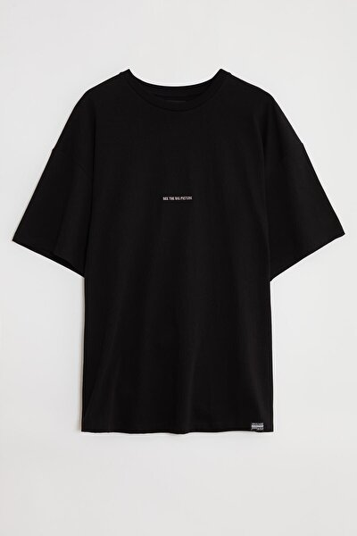 RIVER Erkek Siyah Önü Yazı Nakışlı Kısa Kollu Oversize T-Shirt