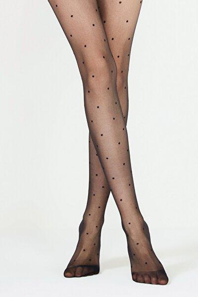 Stil Puantiyeli Siyah Külotlu Çorap