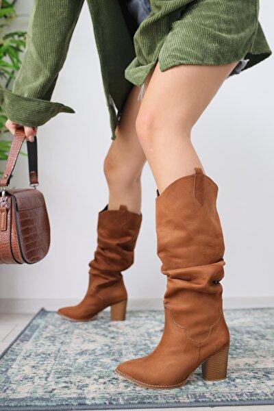 Kadın Jose Taba Süet Kovboy Tarzı Körüklü Topuklu Çizme