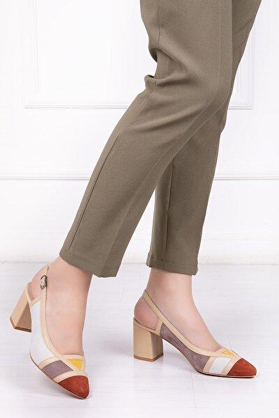 Hakiki Deri Bej Multi Kadın Topuklu Deri Ayakkabı Shn-0075