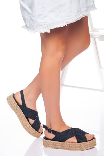 Kadın Lacivert Hasır Sandalet