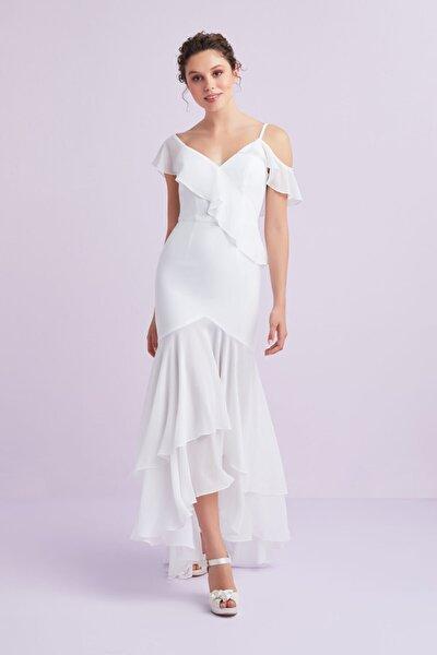 Oleg By Beyaz Askılı Önü Kısa Arkası Uzun Şifon Nikah Elbisesi