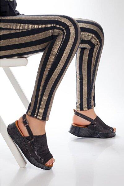 Hakiki Deri Siyah Simli Kadın Deri Sandalet Dp08-5018