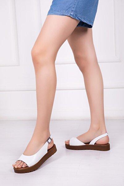 Hakiki Deri Beyaz Kadın Deri Sandalet Dp-0094