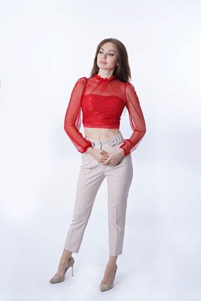 Kadın Kırmızı Yakası Fırfırlı Dantel Tül Detaylı Bluz Y-7597