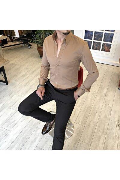 Italyan Stil Slim Fit Dik Yaka Saten Erkek Gömlek Vizon T5104