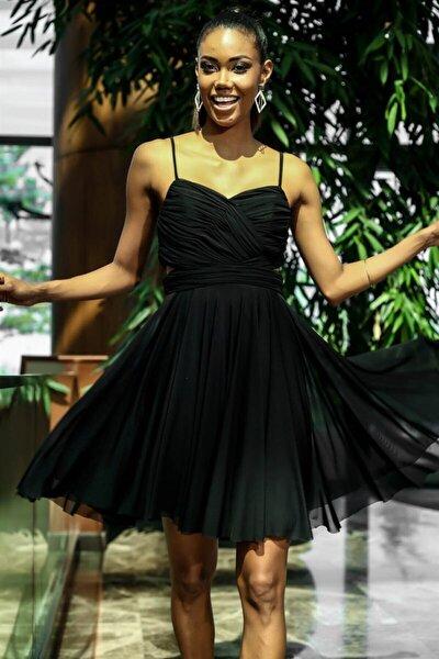 Bel Dekolteli Ip Askılı Astarlı Kısa Tül Elbise Siyah