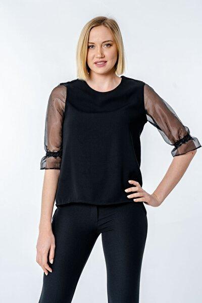 Kadın Siyah Kolları Organze  Bluz Y-7586