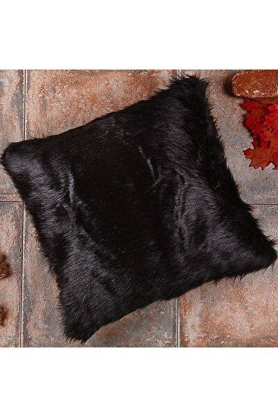 Siyah Peluş Yastık Kırlent Kılıfı Ynss1834
