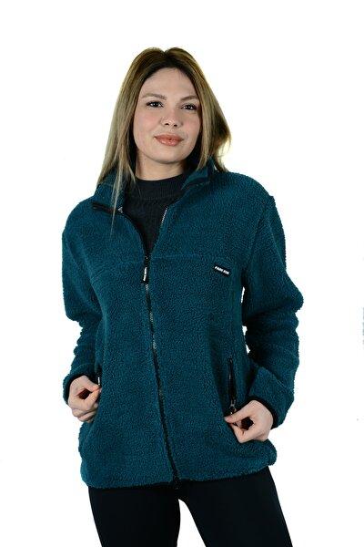 Unisex Yeşil Cepli Fermuarlı Parkrow Sherpa Polar Sweatshirt