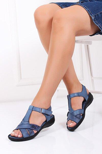 Hakiki Deri Kot Mavi Kadın Deri Sandalet Dc-0111