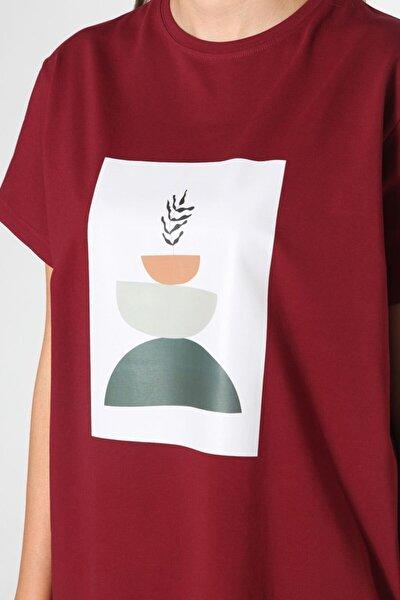 Bordo Baskılı Kısa Kol T-shirt
