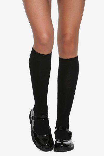 Düz Pamuklu Diz Altı Çocuk Çorabı Siyah