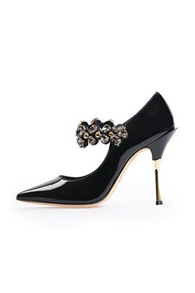 Siyah Taşlı Abiye Ayakkabı