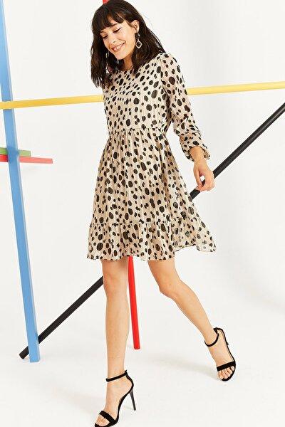 Kadın Bej Yazlık Kısa Şifon Elbise