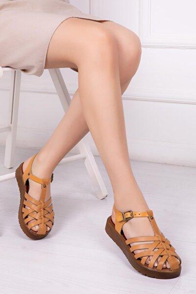 Hakiki Deri Taba Naturel Kadın Deri Sandalet Dp-0097