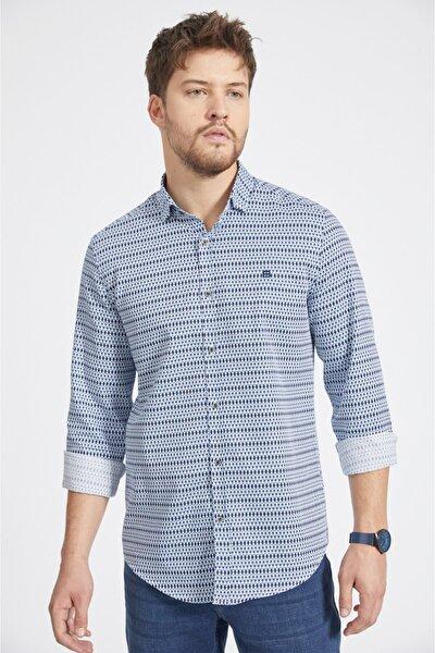 Erkek Mavi Baskılı Alttan Britli Yaka Slim Fit Gömlek A02y2106