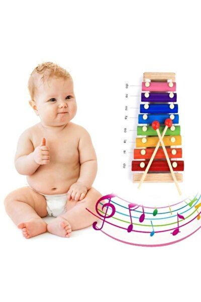 Ksilofon Kutulu Bebek Oyuncak Selefon Ahşap Müzik Aleti Oyuncak