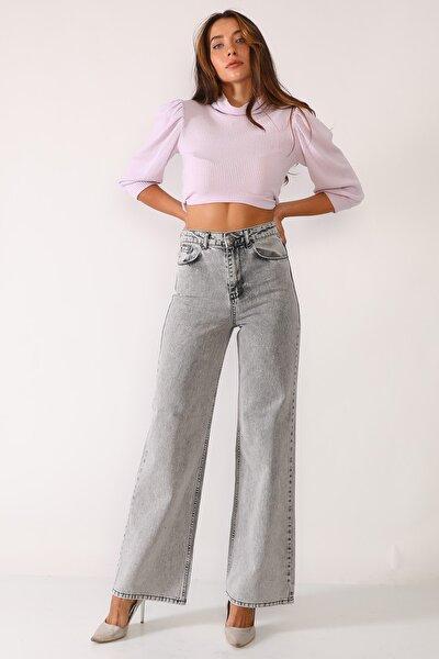 Açık Gri Yüksek Bel Bol Kesim Taşlanmış Kot Pantolon