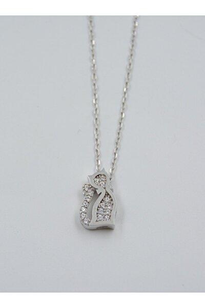 Swarovski Taşlı Kedi Desen 925 Ayar Gümüş Kadın Kolye