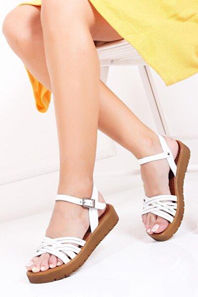 Hakiki Deri Beyaz Kadın Deri Sandalet Dp-1013