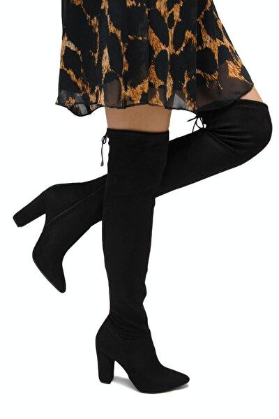 Carina Siyah Süet Diz Üstü Yüksek Topuklu Çorap Çizme