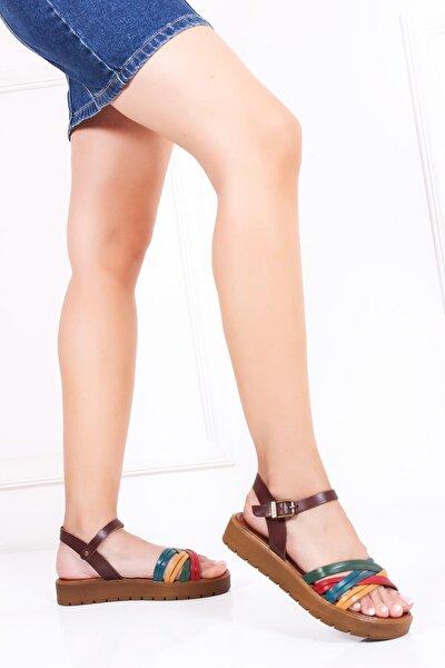 Hakiki Deri Multi-2 Kadın Deri Sandalet Dp-1013