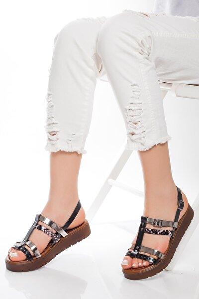 Deripabuc Hakiki Deri Siyah Kadın Deri Sandalet Rma-3111