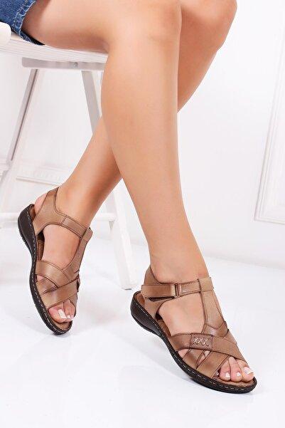 Hakiki Deri Vizon Kadın Deri Sandalet Dc-0111