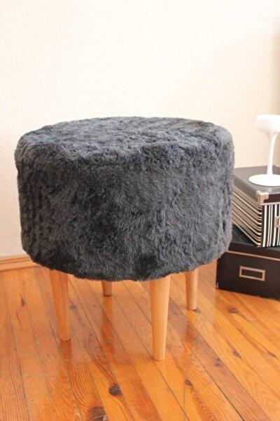 Gürgen Ahşap Ayaklı Dekoratif Siyah Antrasit Yuvarlak Pelüş Puf Bench Koltuk Sandalye