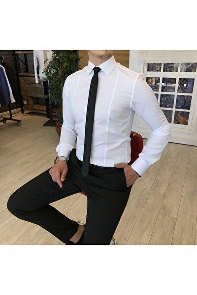 Italyan Stil Slim Fit Armürlü Kravat Yaka Gömlek Beyaz T4774