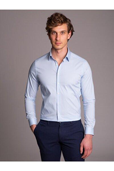 Açık Mavi Ince Sık Dokuma Klasik Erkek Gömlek - Ekstra Slım Fıt