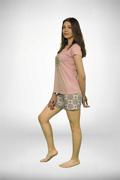 Kadın Koyu Pembe Geniş Yaka Baskılı 3 'lü Yazlık Pijama Takımı 5001