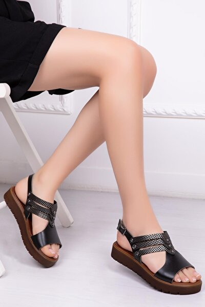 Hakiki Deri Siyah X3 Kadın Deri Sandalet Dp-0095