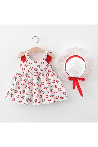 Kırmızı Kelebek Elbise Ve Şapka 2'li Set