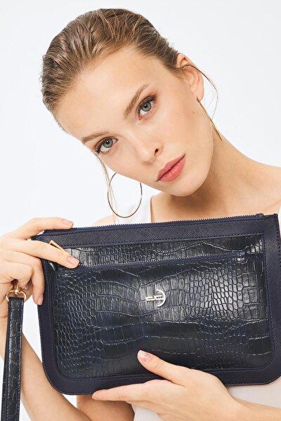 Kadın Basic Clutch Çanta Kroko Timsah Desen Lacivert 214003