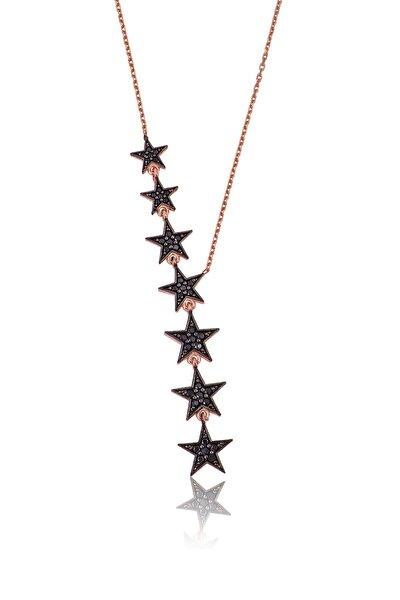 Siyah Nano Zirkon Taşlı 925 Ayar Kayan Yıldızlar Gümüş Kolye