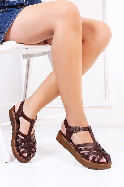 Hakiki Deri Kahverengi Kadın Deri Sandalet Dp-0097