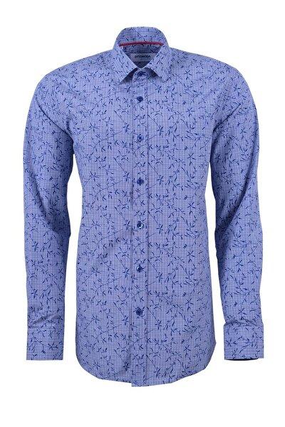 Desenli Uzun Kollu Erkek Gömlek Mavi
