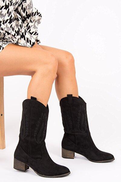 Günlük Western Kadın Kovboy Çizme Siyah - Taba - Bej Süet Dikişli Ahşap Topuklu Bot