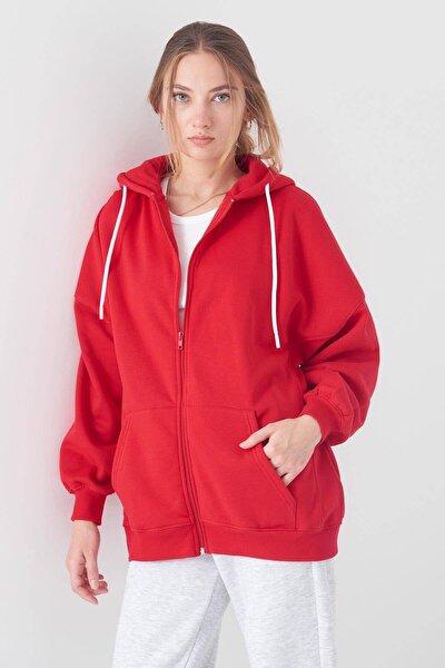 Kadın Kırmızı Kapüşonlu Uzun Hırka H0725 - W6 - W7 ADX-0000020316