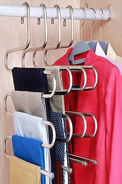 5'li 5 Katlı Metal Pantalon Eşarp Askısı Dolap Içi Düzenleyici Organizer