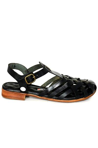 1140 Siyah Deri Trend Sandalet
