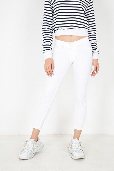 Mylife Düşük Bel Skinny Fit Cepsiz Kadın Pantolon Beyaz - Ym2755