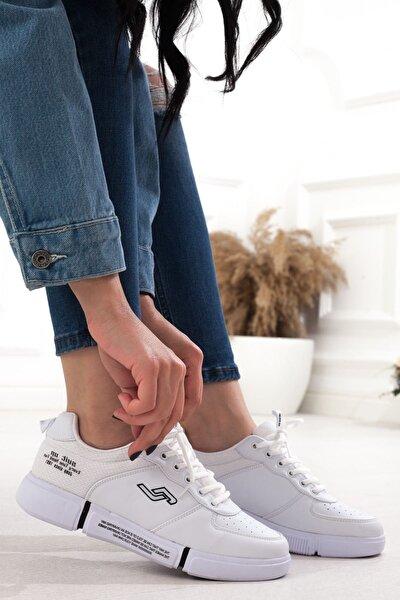 Beyaz Yüksek Taban Bağcıklı Kadın Spor Ayakkabı • A20gyjmp0007